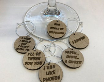 Friends TV Show Wine Charms - Set of 6 Different Phrases - WC001