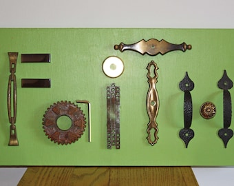 Faith Sign / Wall Plaque Repurposed Art - Door Pulls, Backplate, Spindles, Rusty Gear, Glass Tile - Salvage