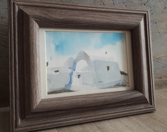 Greek island art Original watercolor painting on aquarelle with wooden frame Greek island house Cyclades Aegean art Housewarming gift idea