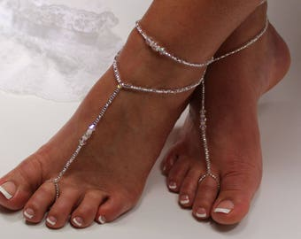 Beaded Barefoot Jewelry Anklet Set Crystal Foot Jewelry Wedding Shoes Beach Wear Crystal Bridal Barefoot Bridesmaid Gift Soleless Shoes