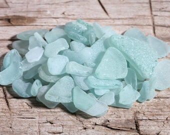 Craft Sea Glass Bulk / 1 lb / 460+ gr / Italian Genuine Aqua, Seafoam and White Beach Glass / Natural Sea Glass Supplies. (sg-bulk-460)
