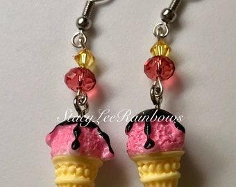Dangle Earrings Ice Cream Cone Earrings Womens Jewelry Summertime Earrings