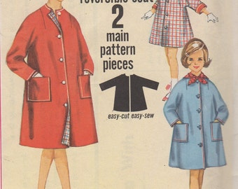 Sz 12-1960's Girls' Reversible Jiffy Coat and Scarf Simplicity 4786  Breast 30""
