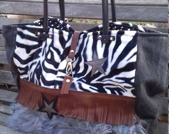 Fur and leather convertible tote bag