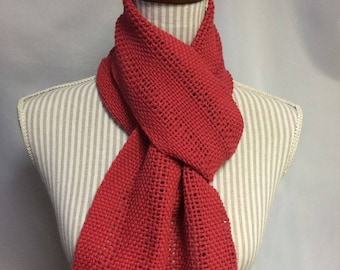 strawberry: handwoven cotton scarf