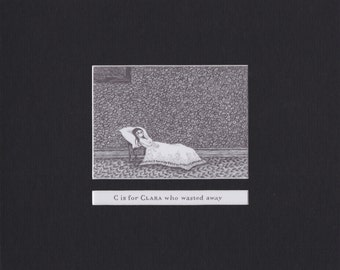 Edward Gorey 'C is for Clara'... Custom Matted Post Card