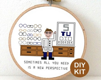 Cross Stitch Kit Optician. Gift for opticians or glasses geek. Modern cross stitch kit including embroidery hoop