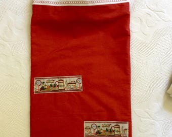 Bread bag in red cotton lined with linen white 60x32cm