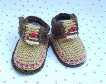 Sock monkey, Sock monkey baby booties, Handmade handmade shoes Infant/Baby Take Home Outfit one of a kind art Handmade newborn hospital gift