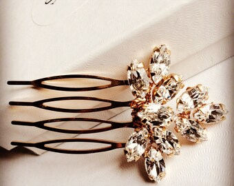 Hair comb in Gold /Rose gold / Silver/ with Swarovski rhinestones. Wedding hair, bridal accessory, headpiece for bridesmaid or bride