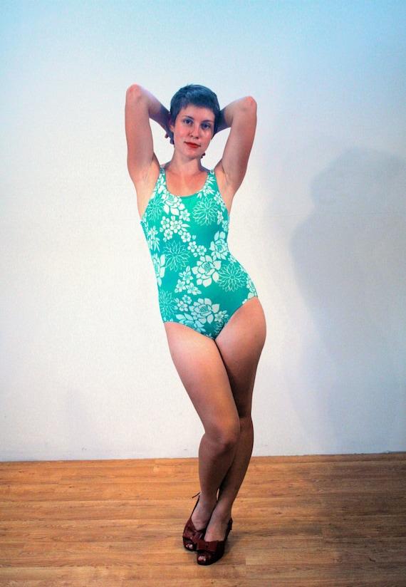 LL Bean Swimsuit M 80s Swimsuit Retro Swimsuit Teal Blue