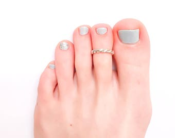 Twist Toe Ring, Sterling Silver Adjustable Twist Toe Ring, Twisted Toe Ring, Knuckle Ring, Midi Ring, 925 Sterling Silver, Handmade Toe Ring