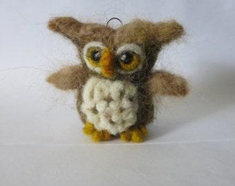 wool needle  felted owl