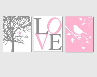 Modern Bird LOVE Nursery Art Trio - Set of Three 8x10 Prints - Choose Your Colors - Shown in Yellow, Gray, Pink, and More