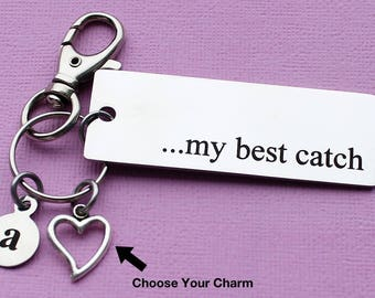 Personalized Love Key Chain My Best Catch Stainless Steel Customized with Your Charm & Initial - K697