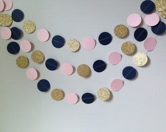Gold glitter, light pink, navy blue circle paper garland, baby shower bridal shower birthday party wedding