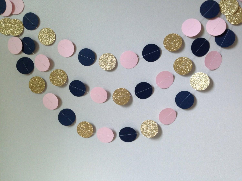Gold glitter light pink navy blue circle paper garland baby