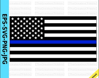 Thin Blue Line United States Flag eps svg png jpg Vector Graphic Clip Art  US Flag Support Our Police