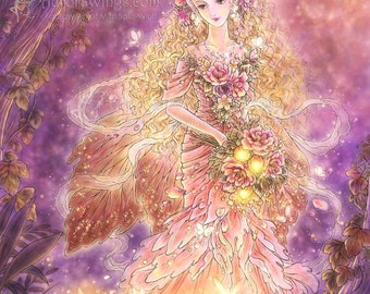 Free Shipping to US - Elf Queen with Firefly Pixies Fantasy Art - Lady of the Forest - 5x7 Signed Print - by Mitzi Sato-Wiuff