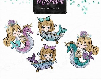 Mermaid Petite Doll Clip art | Cute Blonde Hair Girl Illustration , children graphic, planner sticker, emoticon, die cut, icon sticker