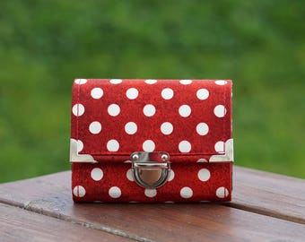 Womens Wallet, Dots Wallet, 13x10cm, Small Wallet, Fabric Wallet, Women's Wallet, Purse