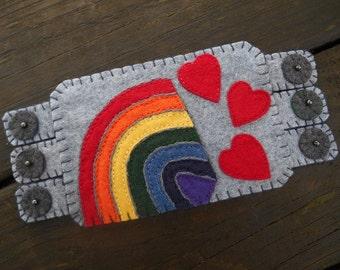 Love and Rainbows, Rainbow and hearts, fiber art, Rainbow Coffee Coaster, Hearts Mug Rug, rainbow coaster