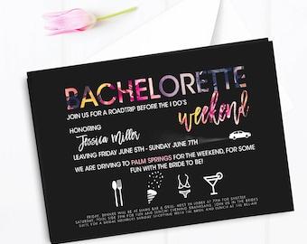 Bachelorette weekend invitation, bachelorette road trip, Bachelorette weekend beach party, bachelorette bridal shower invitation