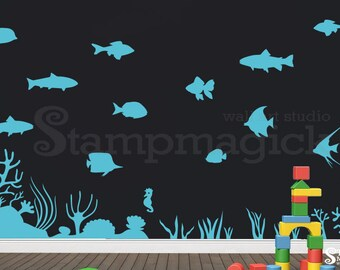 Fish Wall Decal - Under the Sea World Wall Decor - Ocean Vinyl Wall Art Graphics - K252