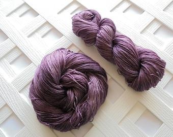 AUBERGINE Hand-Dyed Yarn, Indie-Dyed Yarn, Handdyed Yarn, Fingering-Weight Yarn, Sock-Weight Yarn, Superwash Merino, Silk Yarn, Weave Knit