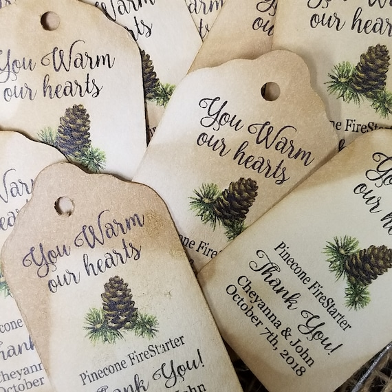 "You WARM our Hearts Pinecone Fire starter favor tag Choose your quantity SMALL 2"" Favor Tag pine cone NOT included"