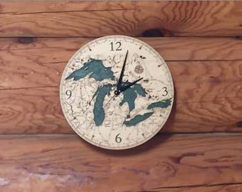 Great Lakes Clock | Michigan Clock | Great Lakes Map | Great Lakes Wood Chart Clock | Great Lakes Water Depth Clock | Lake Michigan | Huron