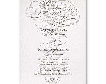 Whirlwind Romance Letterpress Wedding Invitation