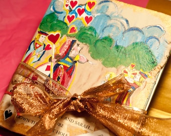 Alice in Wonderland Queen of Hearts Wedding Guestbook or Scrapbook 5 by 8 inches