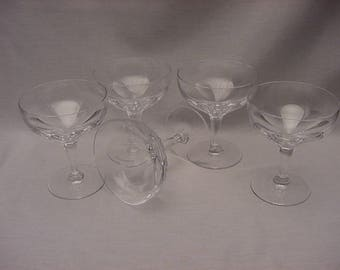 Vintage Set (5) Quality Crystal Champagne Goblets Coupe Glasses Eight Panel