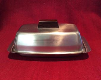 Old Hall Stainless Steel Butter Dish With Glass Tray circa 1970