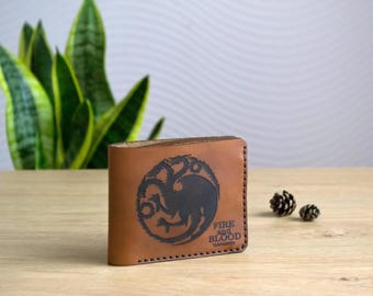 Game of Thrones wallet, Personalized leather wallet, TARGARYEN house wallet, FIRE and BLOOD leather wallet personalized, mens billfold