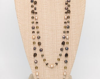 Smoky Quartz and Pearl Sterling Silver Necklace set