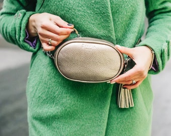 Leather hip bag, womens hip bag, small gold round bag, leather fanny pack for woman,  waist belt, leather fanny pack, waist bag