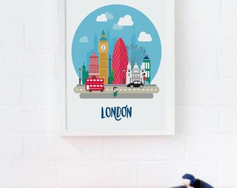 London Print, Cityscape, London Nursery Wall Art, London Skyline, London City Poster, Travel Print, Travel Nursery Decor, Nursery Wall Decor