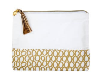 Love+Lemon Cosmetic Bag, Tassel Zipper Pull, Gold Rings Pattern (Style: 1059112328)