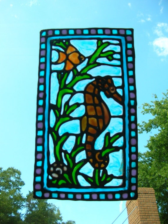 Seahorse Fish Nautical Stained Glass Window Cling 8 5 X 5