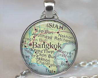Bangkok map pendant, Bangkok necklace Bangkok pendant Bangkok map necklace, Thailand map pendant keychain key chain key ring key fob