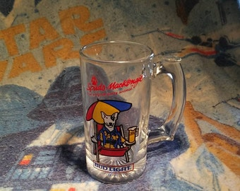Bud Light Spuds Mackenzie 1987 glass beer stein