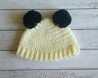 Crochet Pom Pom Hat, Panda Pom Pom Hat, Crochet Pom Pom Hat, Pom Pom Panda Hat, Pom Pom Hat, Panda Hat