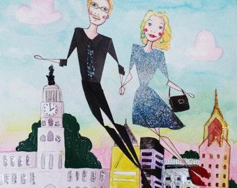 Bespoke Travel Scene - 10x10 in - Travel Couple- Mixed-Media Original Illustration