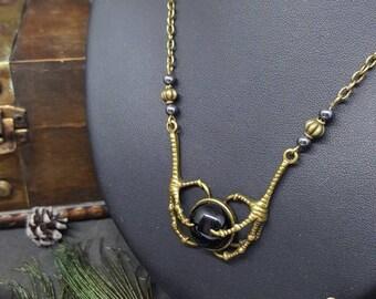 Claws Onyx necklace - gem stone - Goth - steampunk - bird - Crow - clutches - Voodoo - Ouija board - Ravenclaw - ravenclaw