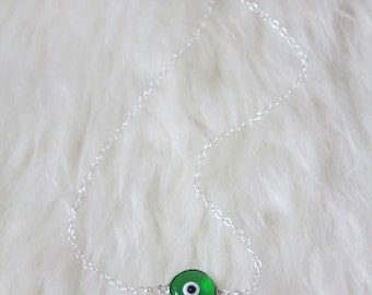 Evil Eye Necklace - Murano Glass and Sterling Silver -- DARK GREEN