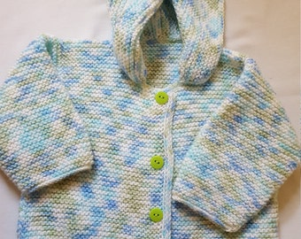 Size 6 to 9 Months Hand Knitted Hooded Sweater/ Green And Blue Button Up/ Handmade Childrens Clothing/ Knit Hoodie/ Winter Clothing