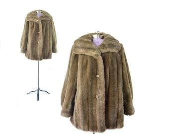Faux Fur Coat, Brown Fur Coat, 1960s Coat, 60s Coat, Vintage Coat, Womens Coat, Vintage Clothing,  Large Coat, Plus Size Vintage