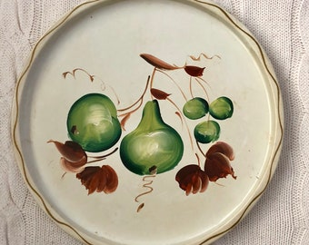 "Vintage 11"" Nashco Circular, Shabby Chic Tray with Green Pears and Brown Leaves - Hand-painted, beautiful shabby/cottage chic decor!"